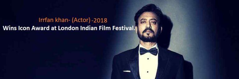 Bollywood star actor Irrfan khan Wins Icon Award at London Indian Film Festival