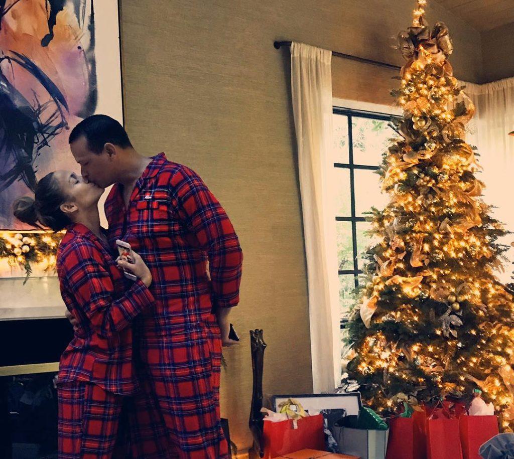 Jennifer Lopez and Alex Rodriguez on Christmas